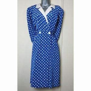 Vintage A-line Button Wrap Dress Ditsy 90's